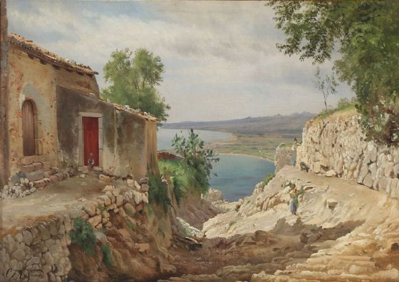 Aagaard, Carl Frederic: Fra Taormina (Coastal scape from Taormina on Sicily). Fine Art Print/Poster. Sizes: A4/A3/A2/A1 (003160)